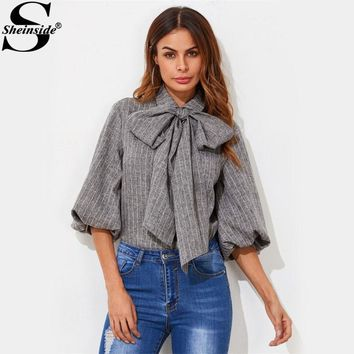 Lantern Sleeve Tied Neck Bow Striped Blouse Fashion Grey Band Collar Half Sleeve Casual Blouse