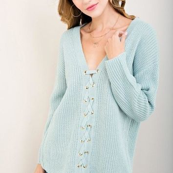 Seafoam Lace Up Closure Sweater