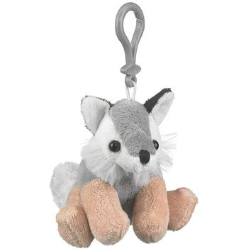 "Wildlife Tree 4"" Wolf Stuffed Animal Clips for Kids Backpack Toy"