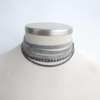 Grey Suede Leather Choker or Bracelet, Multi Strand Choker, Leather Collar,  Suede and Chains Necklace, Leather Jewelry