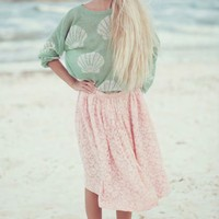 Wildfox Couture Shell Baby Roadie Sweater in Baby Green