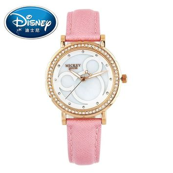 Disney Kids Watch Women Watch Fashion Cute Wristwatches Girls Boys Mickey Mouse Gift Leather clock