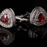 Silver Cufflinks with Crystals & Red Rhinestone