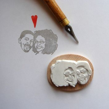 $70.00 Custom / couple portrait / handcarved rubber stamp by lilimandrill