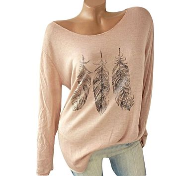 Women Long Sleeve Feather Print Floral Blouse Off Shoulder Tops Basic T-shirt