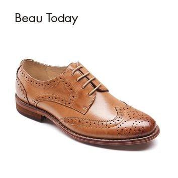BeauToday Brogue Shoes Women Fashion Wingtip Genuine Leather Lace-Up Round Toe Waxing Sheepskin Lady Flats 21024