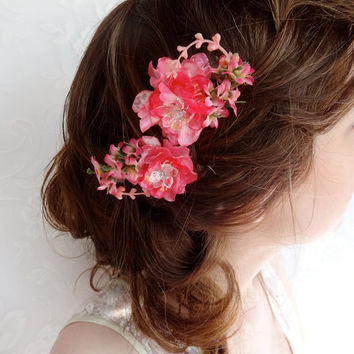 bright pink flower hair pins, wedding hair accessories, hot pink - SWEET LOVE - bridal head piece, bridesmaid, crystals