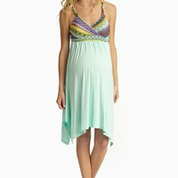 Mint Green Neon Embroidered Top Maternity/Nursing Dress