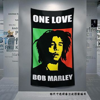 Retro Rock Music Cloth Art Flag Banner Bob Marley Jamaican Reggae Poster Tapestry Hanging Painting Background Decor
