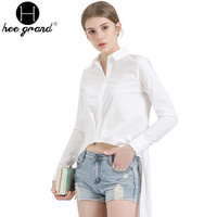Novelty Short Front Long Back Blusas Solid Color Full Sleeve Women Tops 2016 Spring New Turn-down Collar Women Shirts WCL909