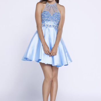 Ice Blue Beaded Halter Dress