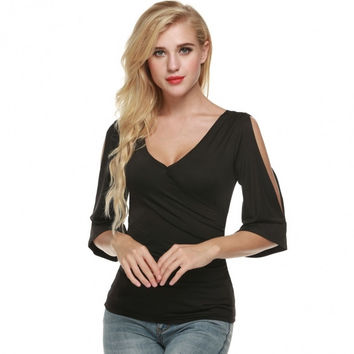 Fashion Women Casual V-neck Faux Wrap Flare Sleeve Pullover Tops Blouse