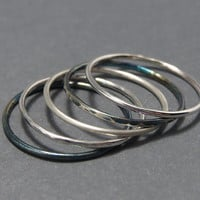1 Single Plain Slim Stackable Ring .925 18g Sterling Silver Minimalist High Polished Ring.
