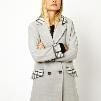 ASOS Ovoid Coat in Bonded Mono Check