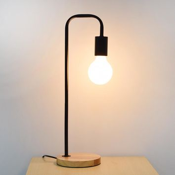 Retro Desk Lamp Wood Base