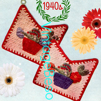 Flower Pot Potholder CROCHET Pattern • PdF Pattern • Vintage 1940s • Digital Pattern • Flower Pot filled with Flowers Potholders • Blue Bell