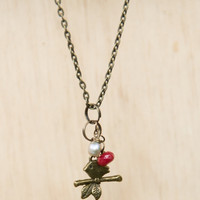 "Antique Brass18"" Necklace, sweet bird on a branch charm with a red faceted bead and gray pearl"