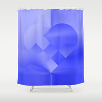Danish Heart Blues Shower Curtain by Gréta Thórsdóttir  #love #heart #girly #Christmas #blue #kids #ombre #pattern #bathroom