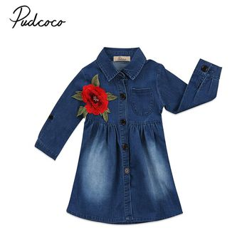 Pudcoco New Fashion Children Girls Rose Flower Embroidery Denim Dress Spring Autumn Long Sleeve Princess Kids Partty Vestido