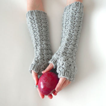 Long half finger gloves  - fingerless, lace crochet, elegant half finger, grey, gray, wrist warmers, MADE TO ORDER