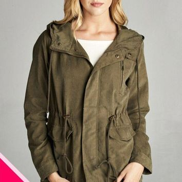 Ladies fashion plus size poly peach skin hooded utility jacket