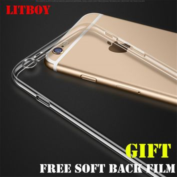 LITBOY Silicone Case For iPhone 6 6s 7 8 plus 5 5S Transparent Phone Back Cover Soft TPU Coque For iphone 8 Cases With Back Film