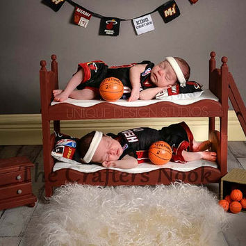Newborn Twins Small Whimsical Boy or Girl Photography Prop Posing Bunk Bed Mattresses - DIY Stackable Doll Beds with Ladder