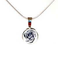 Mini black and white rose pendant in sterling silver, small resin pendant with flower artwork , sweet and elegant monochromatic necklace