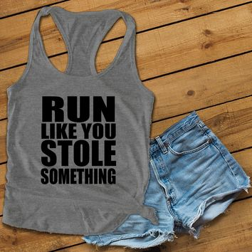 RUN LIKE YOU STOLE SOMETHING Women's Ideal Racerback Tank