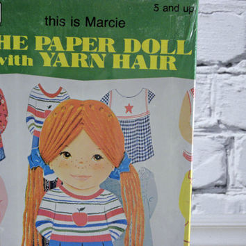 Vintage Paper Doll with yarn hair Marcie 1970s sealed Un opened un cut box Childrens toy from Whitman