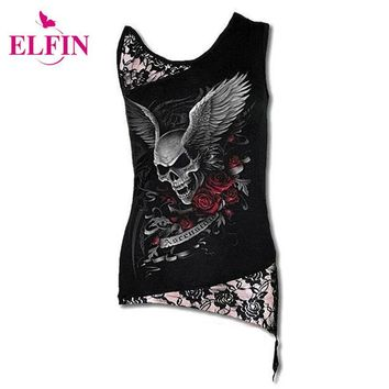 Women T-Shirt Sexy Skull Print Sleeveless Punk Tee Shirt Lace Patchwork Black Tee Tops Pullovers Plus Size LJ8403R