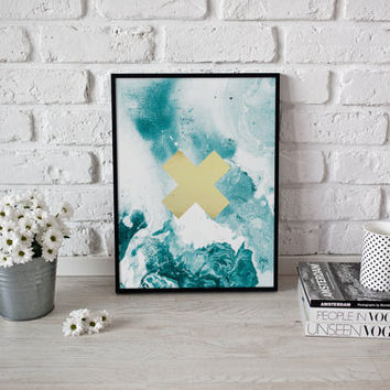 Mint Cross Print, Abstract Art, Home Decor, Scandinavian Print, Modern Decor, Minimalist Poster, Minimal Wall Art,