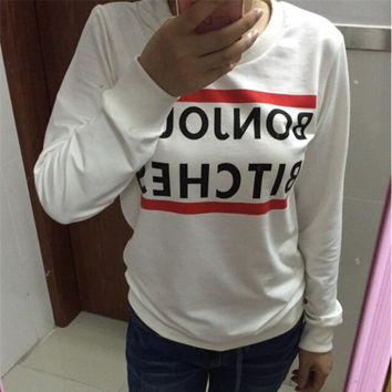 Bar and Letter Pattern Long Sleeve Sweatshirt