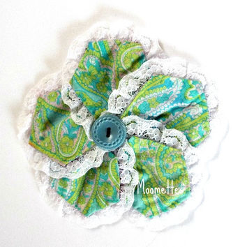 Quilted Large Fabric Hair Clip Blue Green Paisley Button White Lace Trim Photo Prop Girls Barrett Hair Accessories Handmade