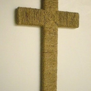 "JUTE WALL CROSS-Handwrapped Natural Jute/Twine Wood Cross-12""x 7"""