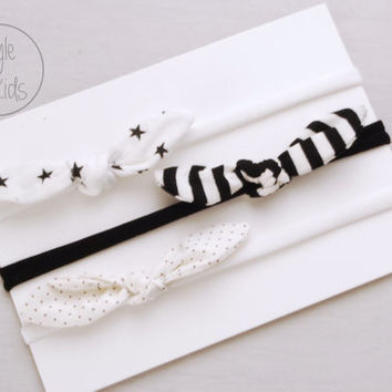 MONOCHROME KNOT Headband Bow Headband You Choose Toddler Headband Set Headband Baby Bow Headband Knot Headband