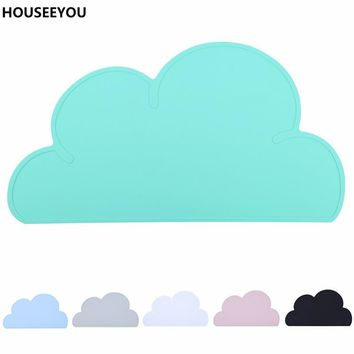 47*27cm Waterproof Silicone Placemat Bar Mat Baby Kids Cloud Shaped Plate Mat Table Mat Set Home Kitchen Pads Table Decoration
