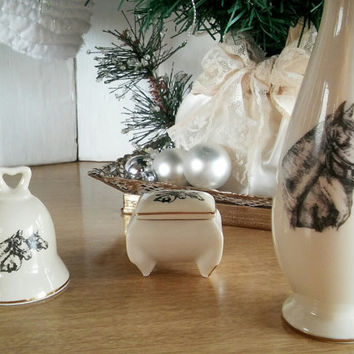 Vintage Japan Horse Vase Horse Trinket Box and Horse Bell, Small World Japan Greetings Horse Gift Set