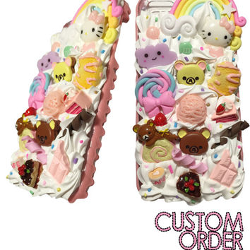 Made to Order! Pink Chocolate Drip Kawaii Rilakkuma Decoden Phone Case