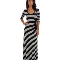 Calvin Klein Half Moon Striped L/S Maxi Dress