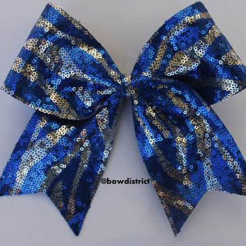 "3"" Royal Blue and Silver Zebra Sequin Cheer Bow"