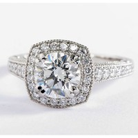 Blue Nile Studio Victorian Halo Diamond Engagement Ring in Platinum | Blue Nile