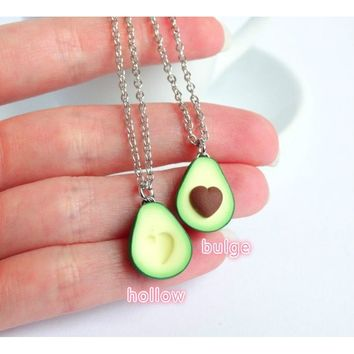 Handcraft Handmade A Set Green avocado bff friendship necklace pendant heart pit