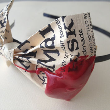 Makers Mark headband with bow up-cycled from Makers Mark bourbon bottle labels