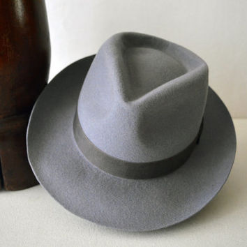 Light Gray Wool Felt Fedora - Wide Brim Merino Wool Felt Handmade Fedora Hat - Men Women