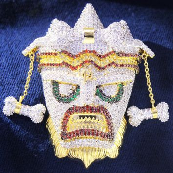Men's Custom Crash Bandicoot Uka Uka Mask Pendant Chain
