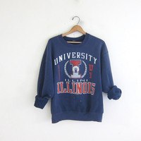 vintage University of Illinois college sweatshirt. Champaign sweatshirt. Blue distressed Illini  sweater