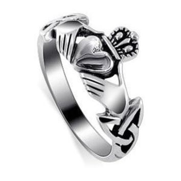 LWRS145-6 Polished 925 Sterling Silver Irish Claddagh Friendship and Love Polish Finish Band Ring Size 6