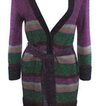 M MISSONI  V FRONT SLEEVE TIE STRIPE KNIT LUREX BLEND MULTI SWEATER COAT  SZ 8