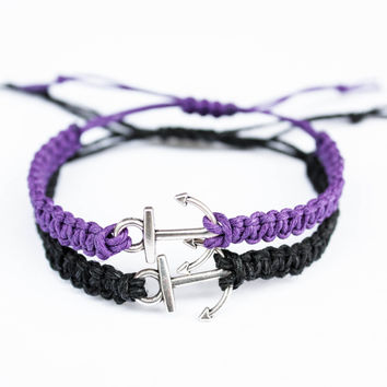 Anchor Bracelets Purple and Black Friendship or Couples